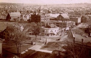 Aerial view of Arlington Center, looking northeast, 1897. St. Agnes Church (prior to its expansion) is recognizable at upper left. Russell Park is the large open green space in this scenic vista. Our April program.