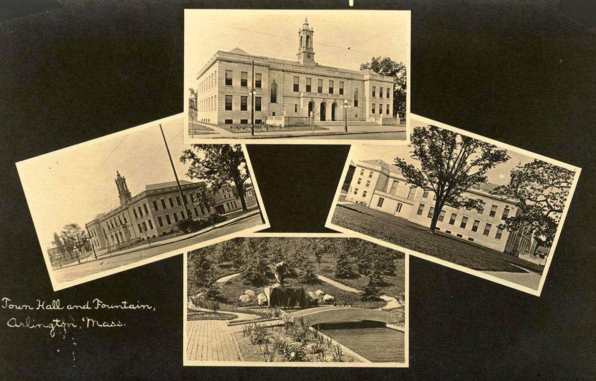 Arlington Town Hall postcard montage