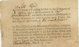 A militia call-up for Seth Reed, 1759.