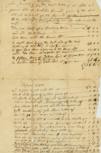 An inventory of Seth & Lydia's estate, 1790.