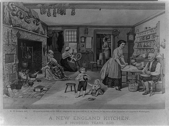 "Photo titled ""A New England kitchen, A hundred years ago."" The drawing, published in 1876, shows women, children and a man working in a colonial-era kitchen"