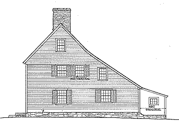 Drawing of a salt-box house (Comfort Starr House located in Guilford, CT) illustrating the distinctive roof line
