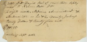 Receipt of payment made to Nahum Ball, a doctor, for the care of Daniel Reed.